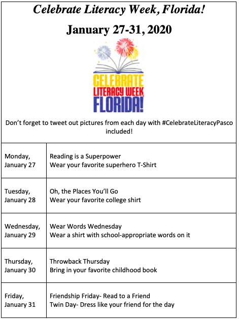 Literacy Week: January 27th-31st