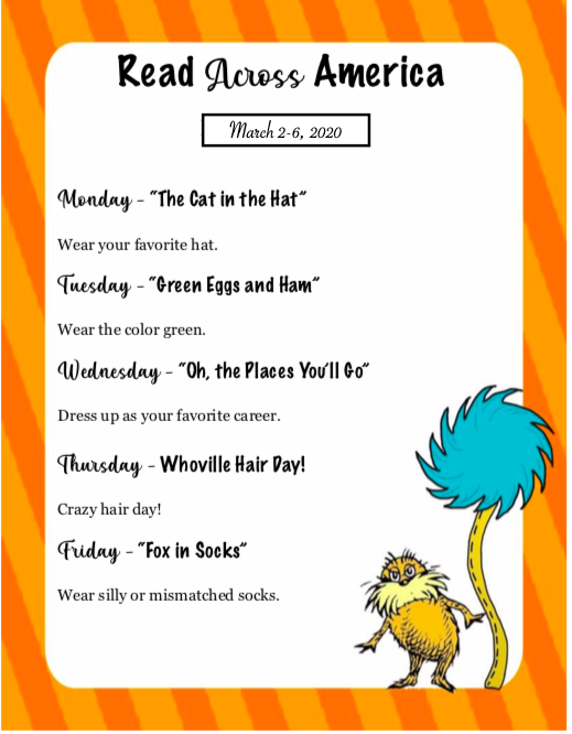 Dr. Seuss Theme Days: March 2nd-6th