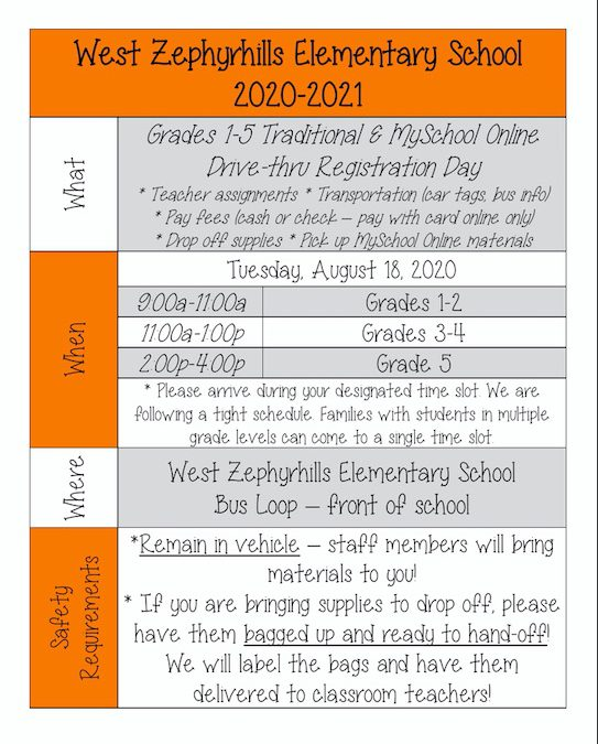 Grades 1-5 Registration Day Plan